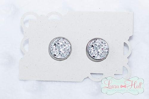 Hypoallergenic Studs White Druzy on Silver Earrings