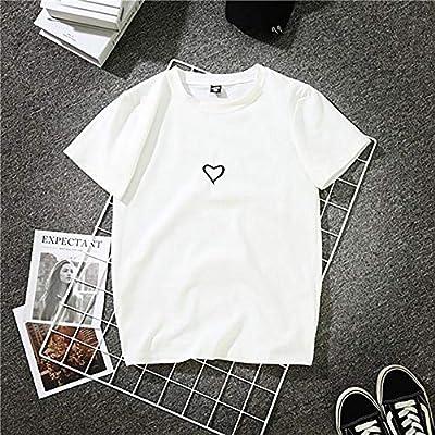 DAIDAINDX Moda Harajuku Estampado Camiseta Algodón Mujer Cuello ...