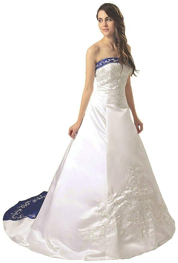 Vantexi Damen Satin Stickerei Brautkleid Hochzeitskleider: Amazon.de ...