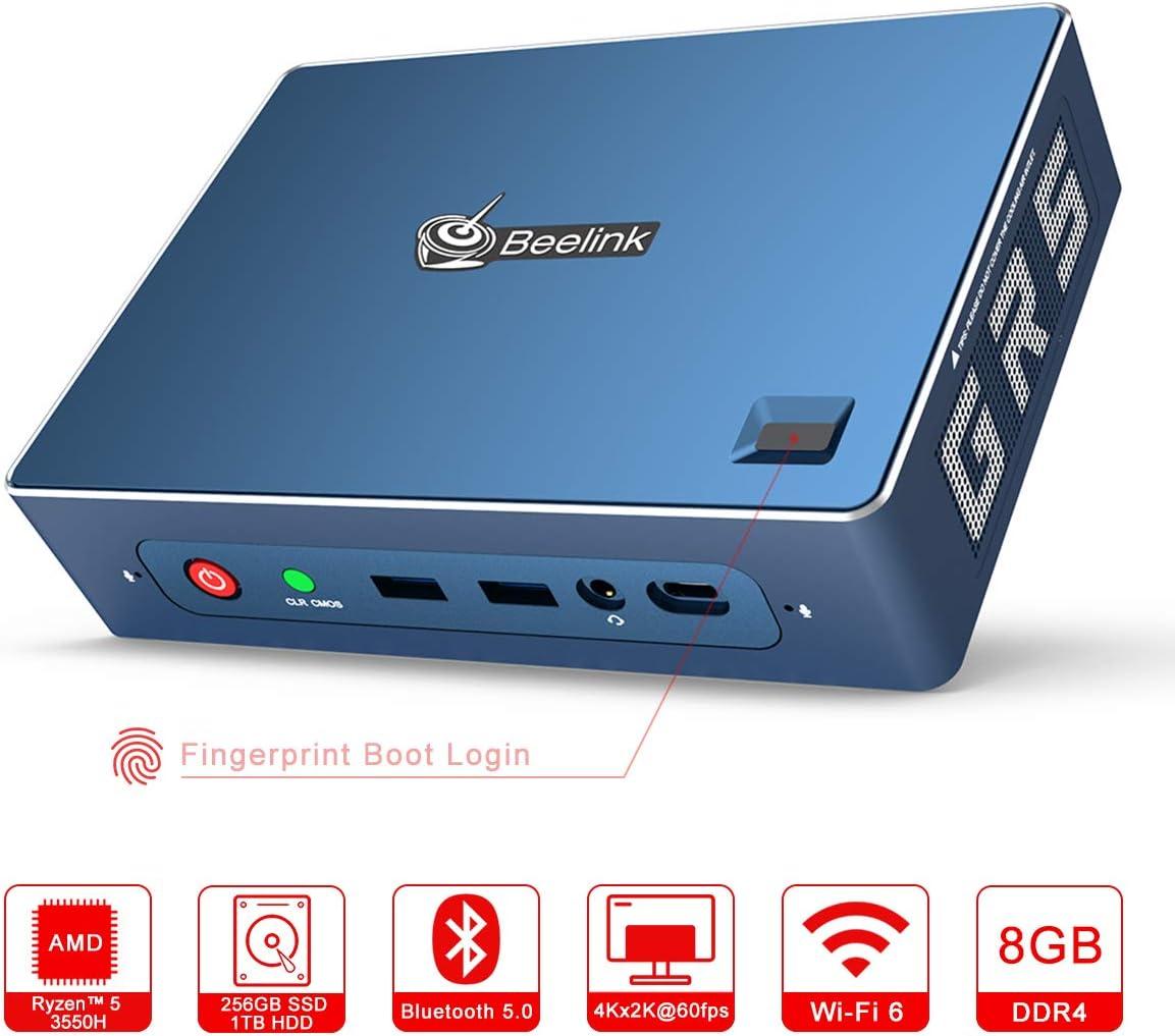 Beelink GT-R Mini PC Window 10 Pro AMD Ryzen 5 3550H (2.1up to 3.7GHz) 8GB RAM 256GB SSD 1TB HDD, WiFi 6, BT 5.0 High Performance Business Office Gamer 4K Computer Dual HDMI, DP, Type-C