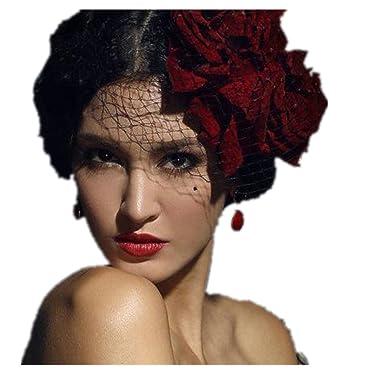Amazon Kangsanli Mini Top Hat Red Flower Rose Hats Veil Gothic