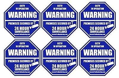 "6 ""REAL"" Blue Octagon-Shaped Video Surveillance System Security Door & Window Stickers 3 X 3 Inch 3M Vinyl Decals"