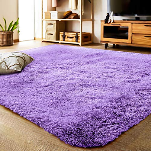LOCHAS Ultra Soft Indoor Modern Area Rugs Fluffy Living Room Carpets Suitable for Children Bedroom Home Decor Nursery Rugs 4 Feet by 5.3 Feet (Purple) -