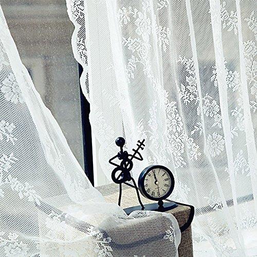 (Jieou Sheer Curtain Tulle Window Lace/Crochet Trim Treatment Voile Drape Valance Wide Tailored Window Panel, Ruffle Edge, Rod Pocket (White, 180cm x 145cm))