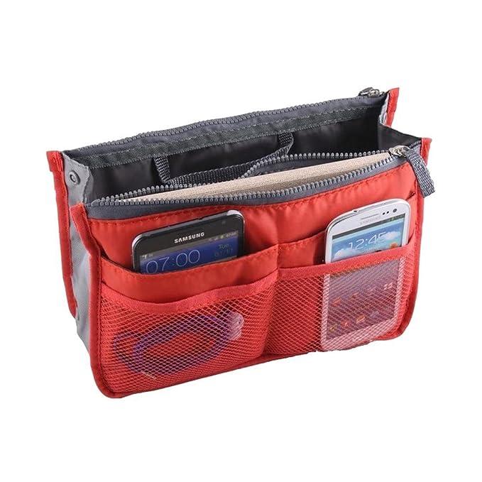 Organizador de bolso de mano cartera viaje compartimentos bolsillos cremallera color rojo: Amazon.es: Ropa y accesorios