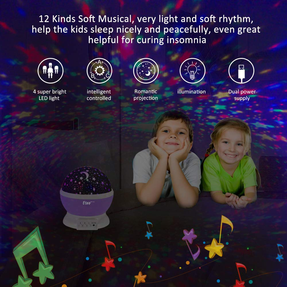 [Update]Esonstyle Musical Night Light,360 Rotating Star Lamp Baby Musical Lamp with Rechargeable Battery,12 Songs to Relax for Sleep Kids Babies Birthday Children Day Christmas Gift by esonstyle (Image #4)