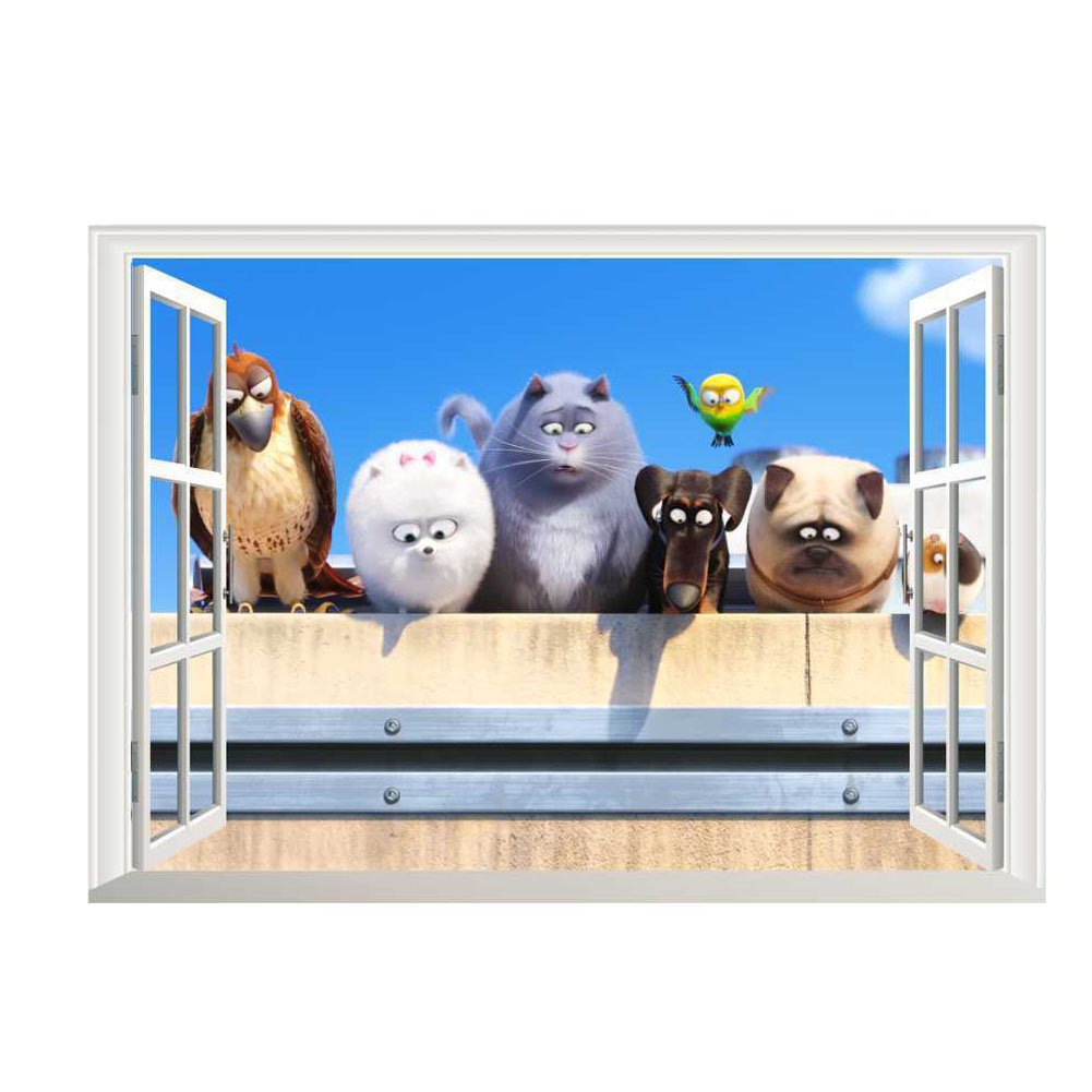 Fangeplus R DIY Removable 3D Fake window The Secret Life of Pets Movie Dog Pig Art Mural Vinyl Waterproof Wall Stickers Kid Room Decor Nursery Decal Sticker Wallpaper19.6''x27.5''