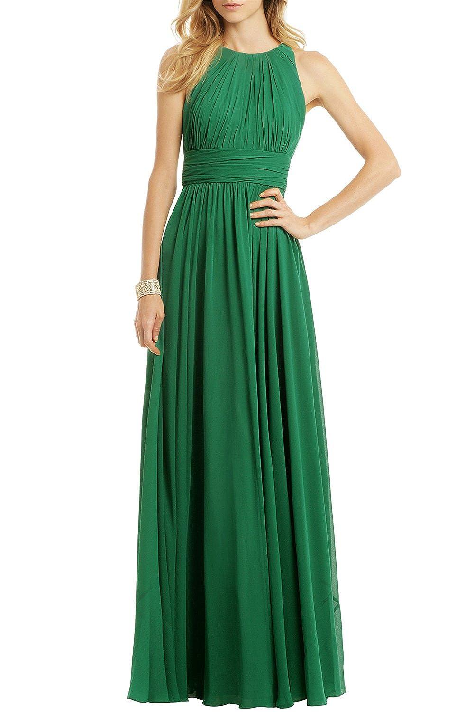 AngelDragon Elegant Halter Green Ruffle Formal Evening Dress Empire Prom Gown