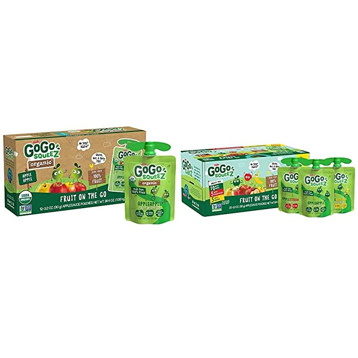 GoGo squeeZ Organic Applesauce, Apple Apple, 3.2 Ounce (12 Pouches), Gluten Free, Vegan Friendly, Variety Pack, 3.2 Ounce (20 Pouches), Gluten Free, Vegan Friendly, Unsweetened