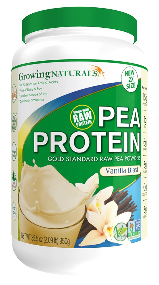 Growing Naturals Pea Protein Powder, Vanilla Blast, 33.5 Ounce