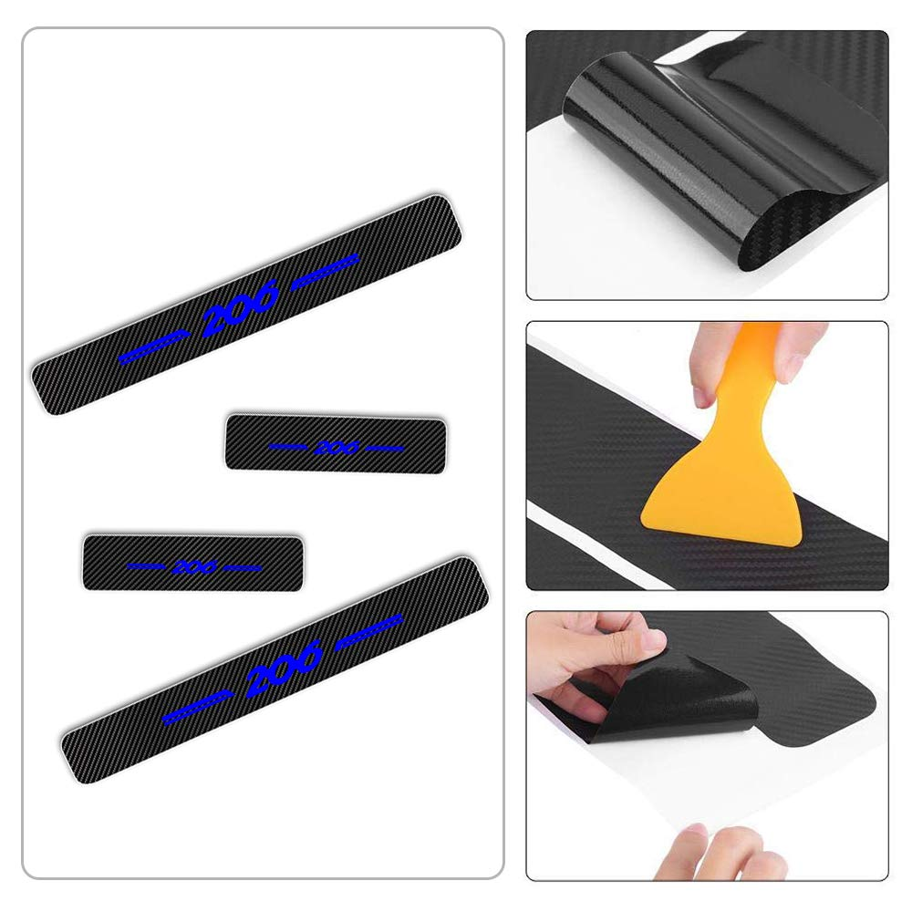 For 206 4D M Car Pedal Covers Door Sill Protectors Entry Guard Scuff Plate Trims Anti-Scratch Reflective Carbon Fiber Stickers Auto Accessories Exterior Styling 4Pcs Blue