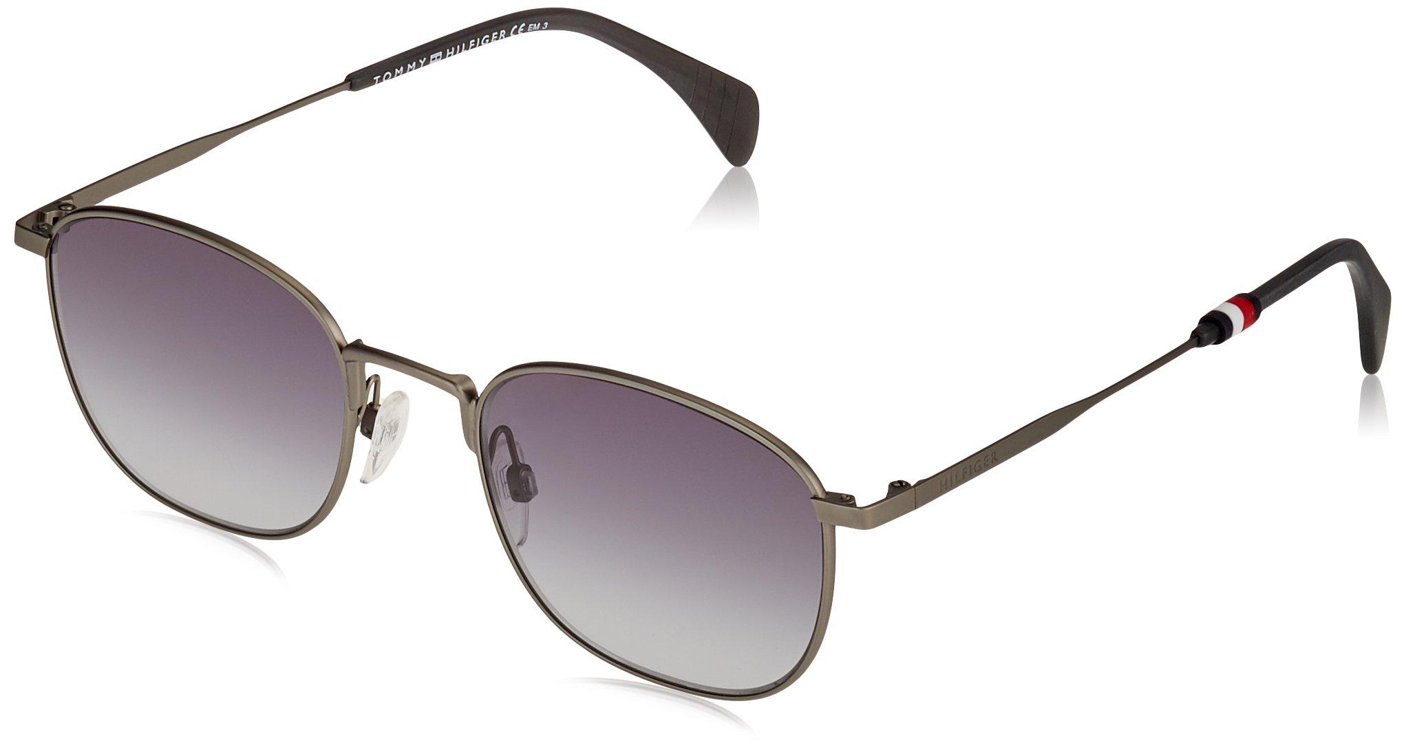 Tommy Hilfiger Metal Rectangular Sunglasses 52 0R80 Semi Matte Dark Ruthenium 9O dark gray gradient lens by Tommy Hilfiger