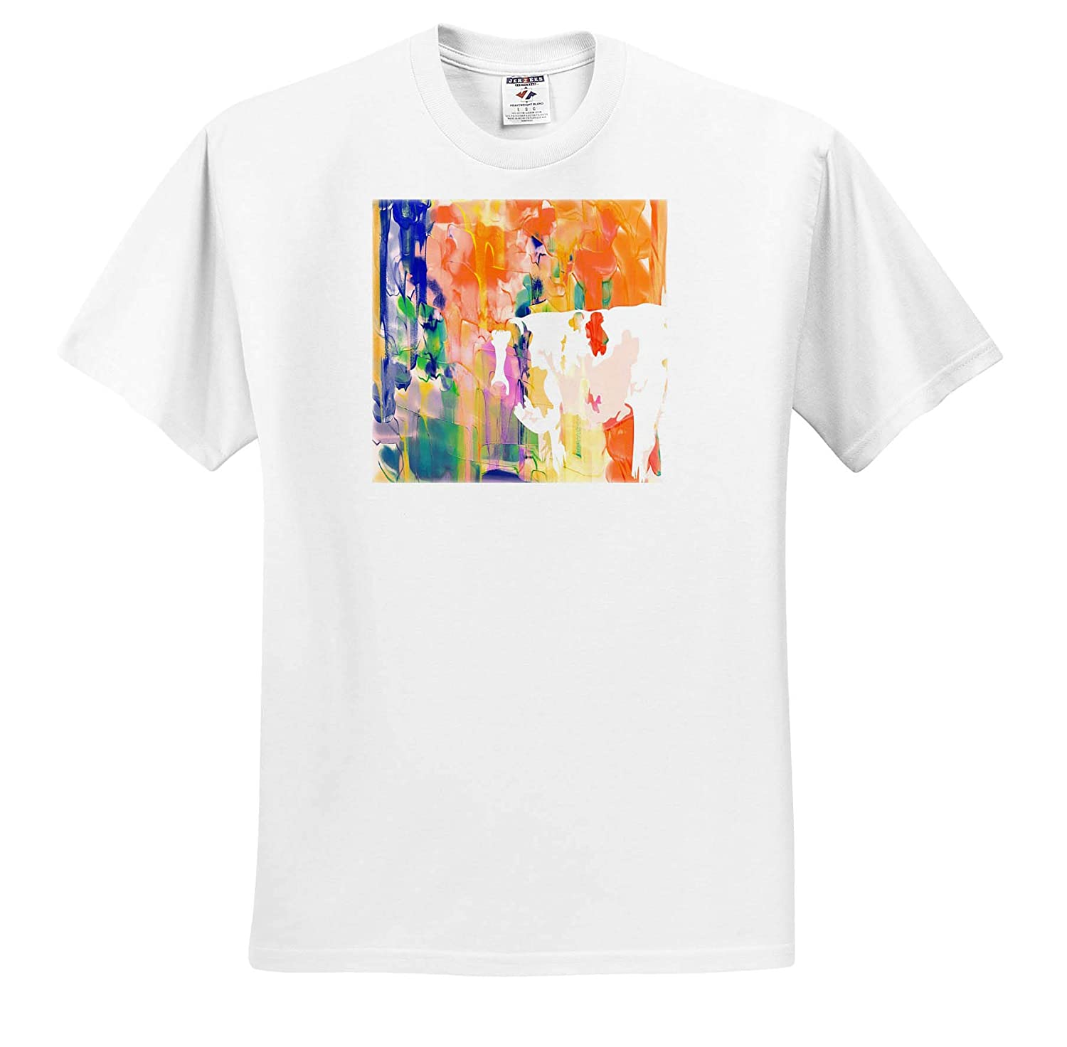 Image of Hidden White Cow in Orange and Blue Painting Watercolor Art T-Shirts 3dRose Lens Art by Florene