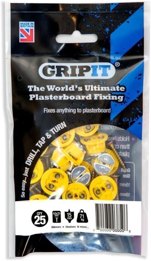 Fijaciones para pladur GripIt Amarillo 15 mm para paredes de entramado - carga máxima 71 kg (paquete de 25)