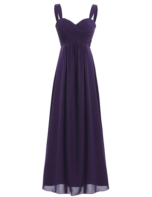 TALLA 46. Freebily Vestido Largo de Fiesta Cóctel Boda para Mujer Dama de Honor Vestido Noche Elegante de Tirantes Morado Oscuro 46