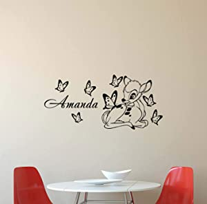 Personalized Name Bambi Wall Decal Walt Disney Deer Butterfly Nursery Nature Baby Quote Boy Girl Gift Stencil Vinyl Sticker Home Bedroom Decor Art Poster Mural Custom Print 437