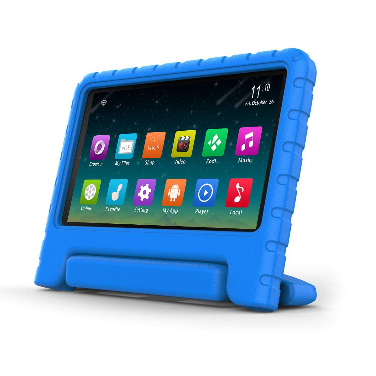 7th Generation,2017 Release Surom Kids Case Compatible A m a z o n F i r e 7 2017,ShockProof LightWeight Convertible Handle Stand Protection Cover for kids F i r e 7 Inch Display Tablet Blue