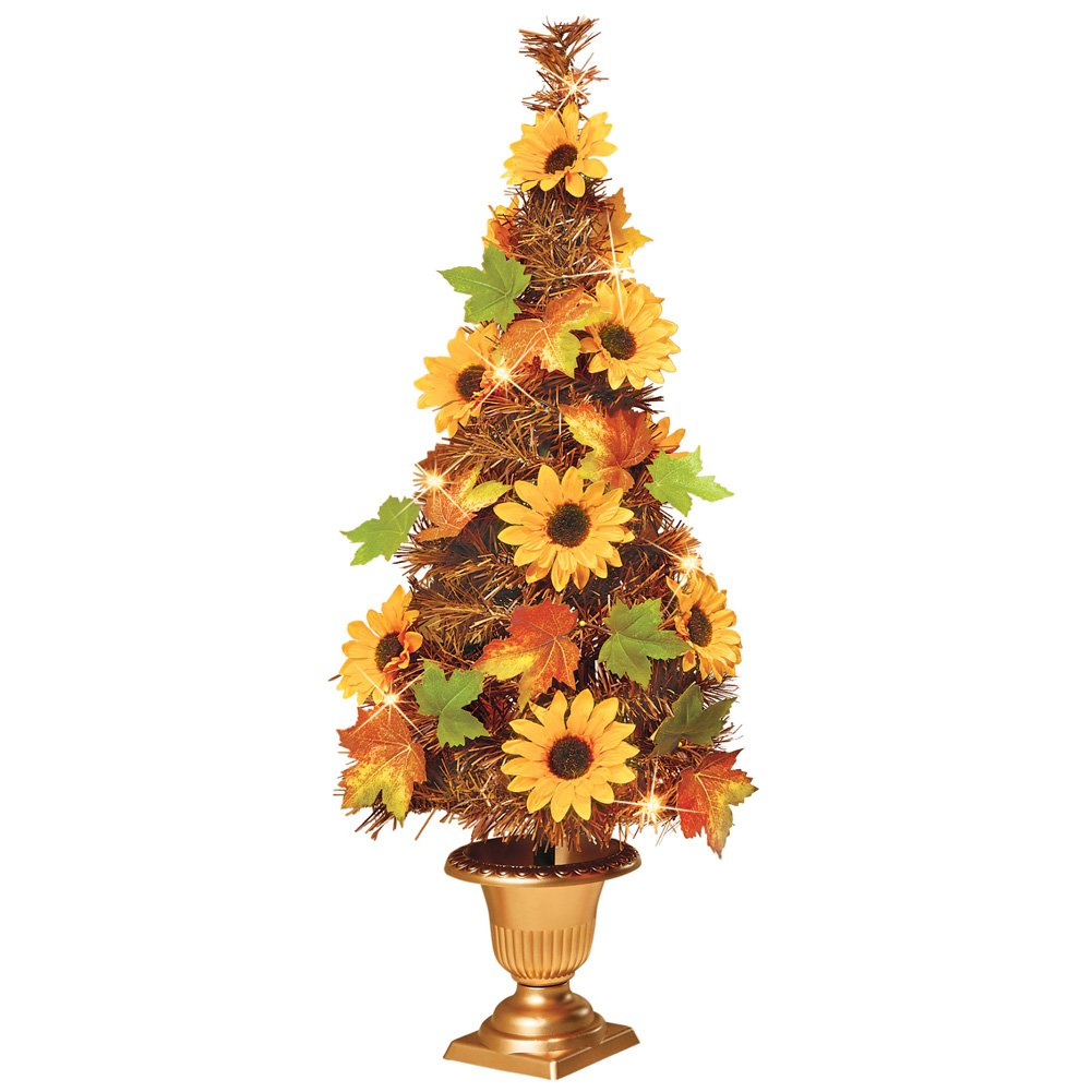 Amazon Collections Etc Lighted Tree Sunflowers And Leaves Fall