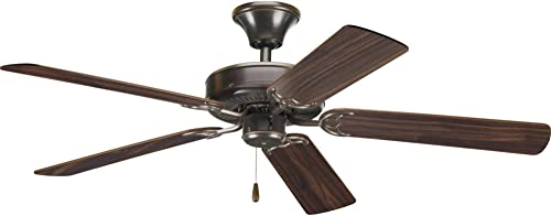 Progress Lighting P2521-20 52-Inch Signature 5-Blade Fan with 153 X 18 Reversible Motor, Antique Bronze
