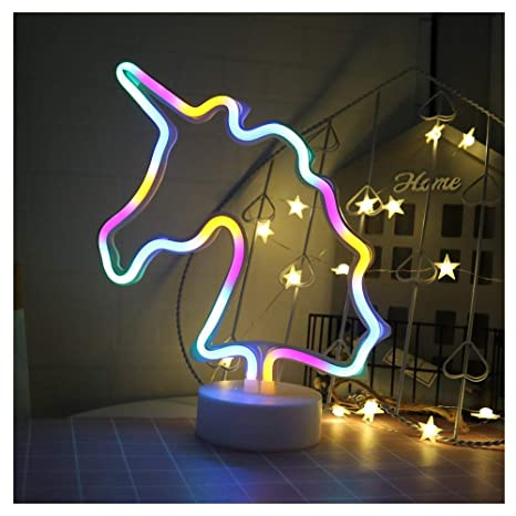 Led Night Lights Led Lamps Bright Unicorn Neon Sign Led Neon Light Sign With Holder Base For Home Party Birthday Bedroom Bedside Table Decoration