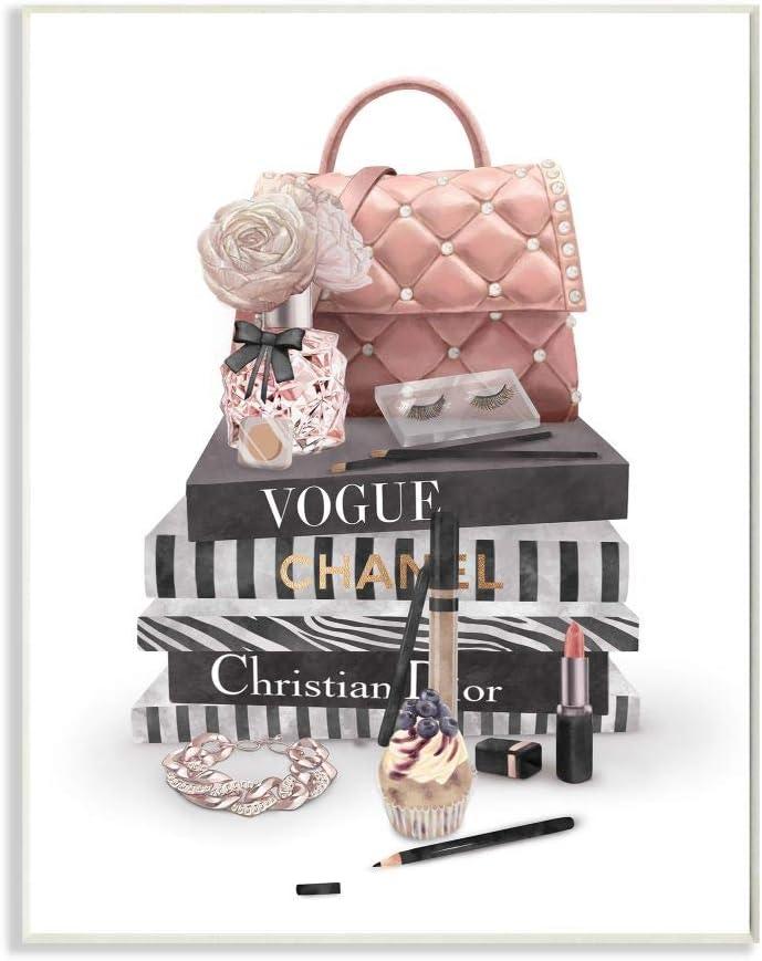 Stupell Industries Fashion Bookstack Purse Perfume Pink Glam Design, Designed by Ziwei Li Art, 10 x 0.5 x 15, Wall Plaque