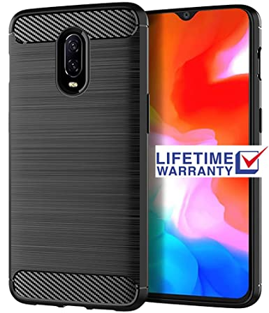 Oneplus 6t Case, Asmart Shock Absorption Case Oneplus 6t Slim Carbon Fiber  Cover Flexible TPU Protective Phone Case for Oneplus 6t T-Mobile (Black)
