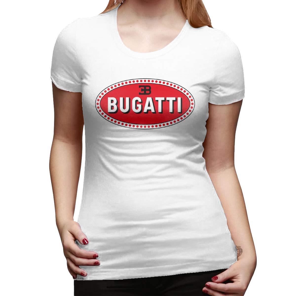 BingFeng Designed T Shirt Bugatti Car Logo 2 Short Sleeve Funny Shirt for Ladies Black