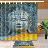 waffle robe with liner - Zen Decor Granite Buddha Image Dressed with Yellow Robes in Buddhist Temple?70.8X70.8in Mildew Resistant Fabric Shower Curtain Suit With 15.7x23.6in Flannel Non-Slip Floor Doormat Bath Rugs