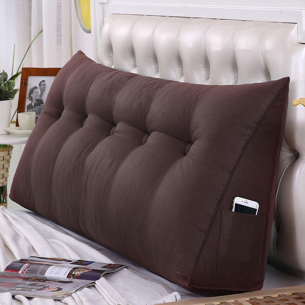 ZXPzZ ベッドサイドトライアングルクッション枕畳大枕腰部枕ソファバックソフトパックベッドウエストバッククッション健康で快適なライブバックルデザイン取り外し可能と洗える (色 : ブラウン ぶらうん, サイズ さいず : 120×50cm) B07RPK9BJM ブラウン ぶらうん 120×50cm