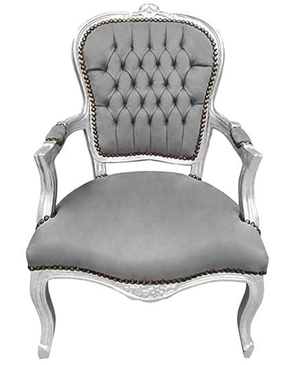 Luxe Furniture Baroque Armchair   Silver Velvet On White