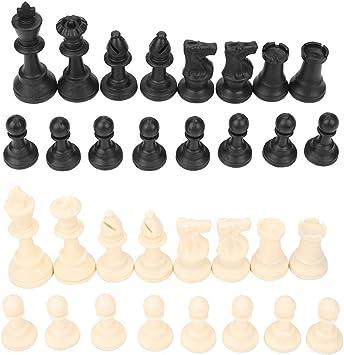 Juego de piezas de ajedrez internacional de 32 piezas Juego de reemplazo de plástico Figuras de ajedrez Torneo estándar Tablero de juego de ajedrez Juguetes de juego Ajedrez Negro blanco con pelusa: