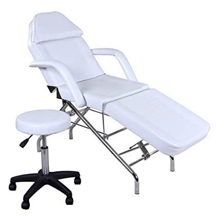 "Icarus ""Hera"" White Facial Bed Spa Chair Tattoo Chair Bed with Towel Holder & Stool"