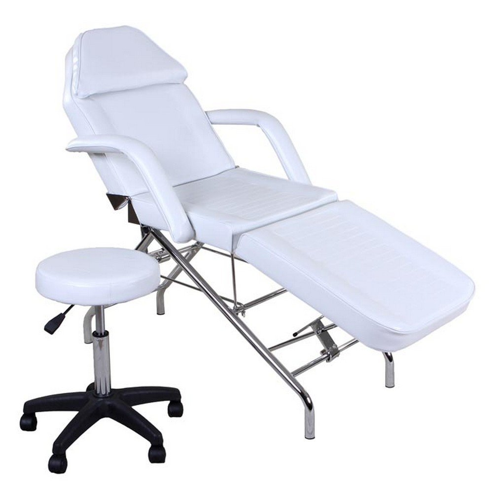 Icarus''Hera'' White Facial Bed Spa Chair Tattoo Chair Bed with Towel Holder & Stool