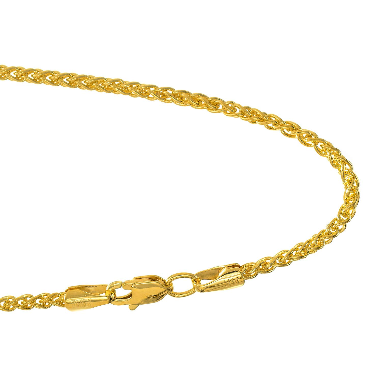 JewelStop 14k Solid Yellow Gold 1.5 mm Round Spiga Wheat Chain Necklace, Lobster Claw Clasp - 30'', 8gr. by JewelStop (Image #5)