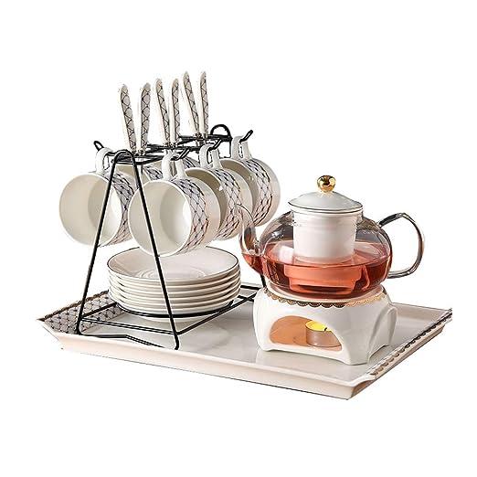 Juego de café de cerámica, juego de té, tetera de cristal de flor ...