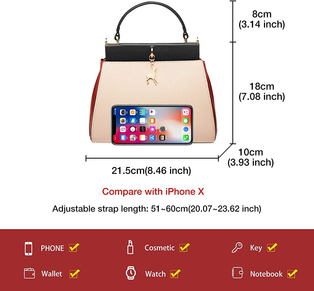 FOXER Leather Crossbody Bags for Women Apricot Cow Leather Medium Size Ladies Top-handle Bags with Adjustable Shoulder Strap Womens Fashion Satchel Handbags Girls Small Purses and Handbags