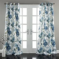 "Lush Decor Floral Paisley Window Curtain Panel (Set of 2), 84"" x 52"", Blue"