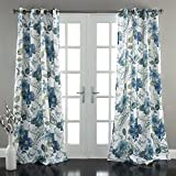 Lush Decor Floral Paisley Window Curtain Panel (Set of 2), 84″ x 52″, Blue