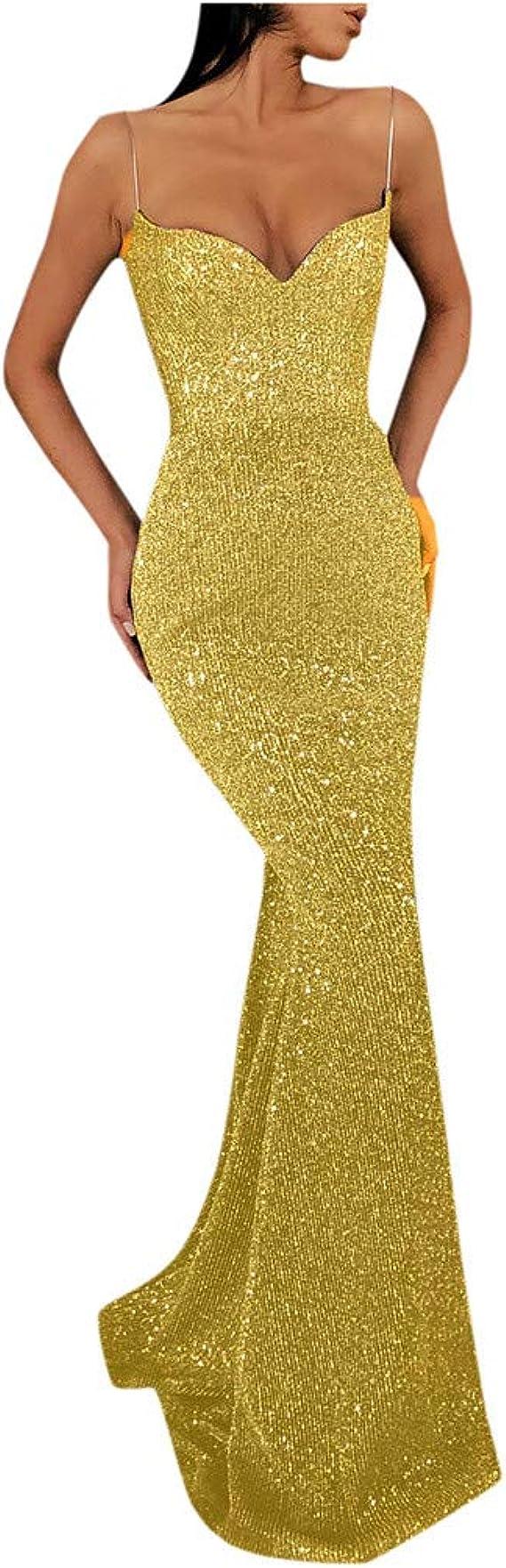 LIHAEI Damen Abendkleider Lang Glitzer TüLl Elegant Kleid Langarm Abend  Kleider Eine Schulter Sexy Partykleider Cocktailkleider Abiballkleider  Silber