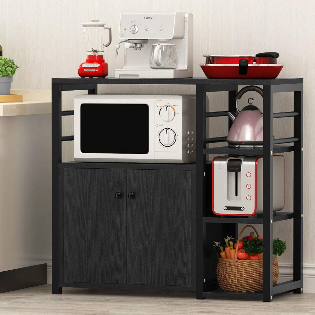 Tribesigns Microwave Oven Stand, Kitchen Baker's Rack Utility Storage Cart Organizer with Cabinet and 3-Tier Shelves (Black)