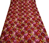 Multicolor Quilt Handmade Cotton Floral Print Decorative Twin Size Bedspread India