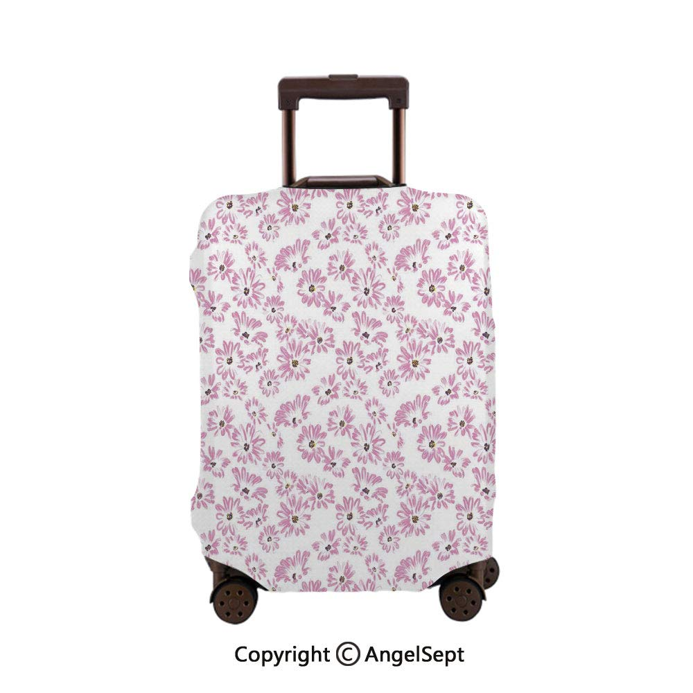 Travel Luggage Cover Spandex Suitcase,Watercolor Pastel Colored Romantic Florals Petals and Buds Light Pink Black and White,26x37.8inches,Protector Carry On Covers with Zipper