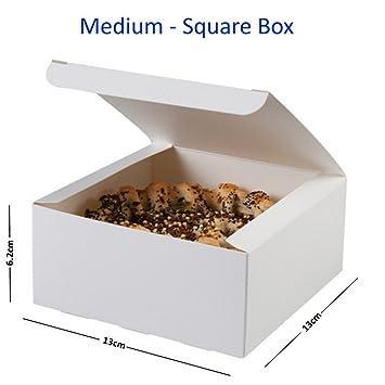 Blanco cuadrado cajas - Bandeja de cartón (maletín de pie/de pastelería embalaje, Medium White Square, 20 Boxes: Amazon.es: Hogar