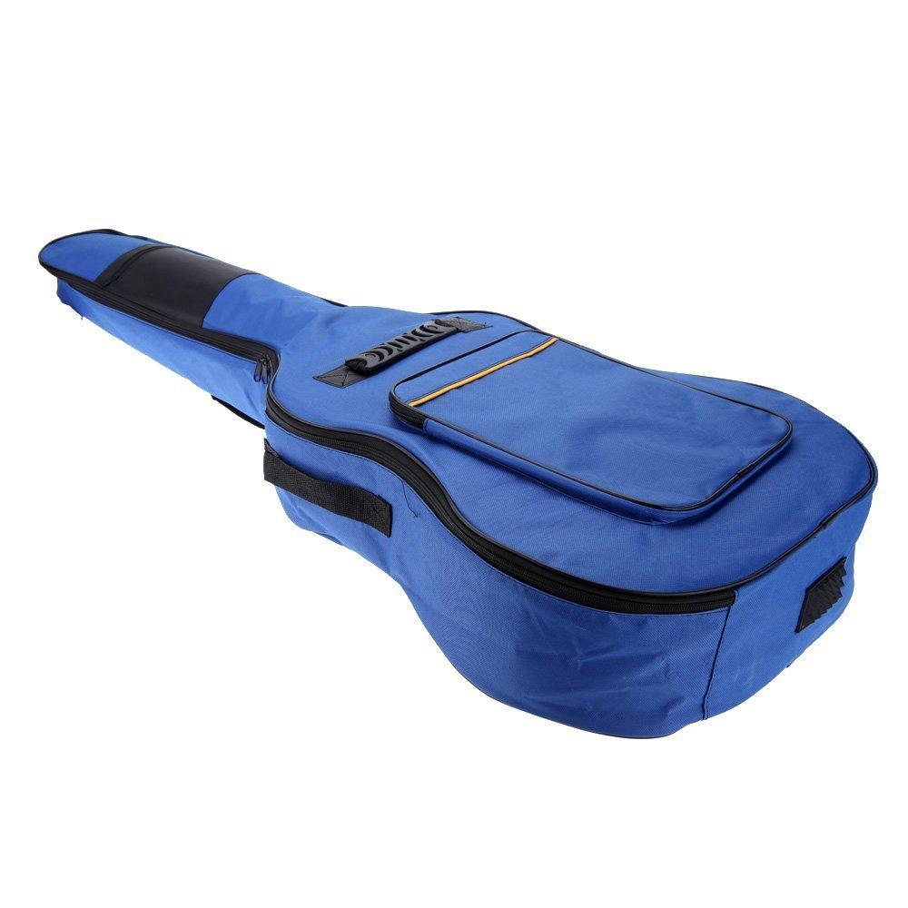 SODIAL(R)41'' Guitar Backpack Shoulder Straps Pockets 5mm Cotton Padded Gig Bag Case blue