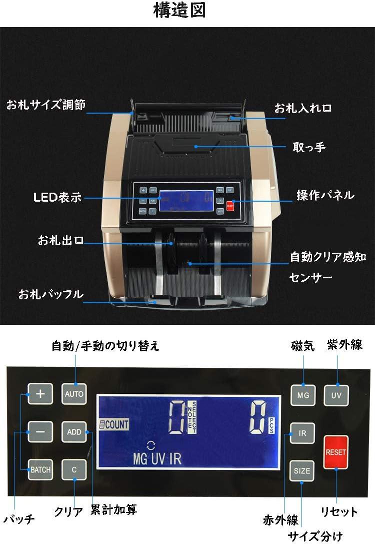 CGOLDENWALL 高速お札カウンター 紙幣計数機 外国紙幣、商品券、図書券のもかカウント 金銭管理に大活躍!LCDディスプレイセット (AC220V /50 HZ)
