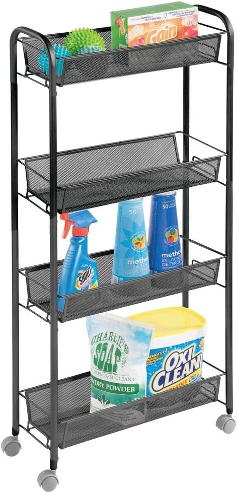 mDesign Portable Rolling Laundry Utility Cart Organizer Trolley with Easy-Glide Wheels and 4 Multipurpose Heavy-Duty Metal Mesh Basket Shelves - Narrow Shelf - Durable Steel Frame - Black