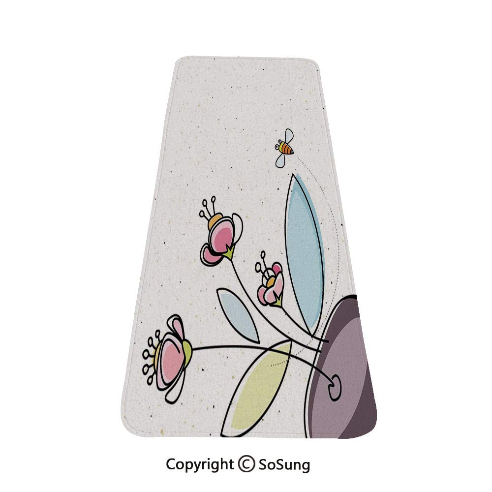 Floral Rug Runner,Flower Pot with Blossoms Leaves and Bees Flying Around Summer Season Inspirational,for Living Room Bedroom Dining Room,6'x 2',Multicolor by SoSung