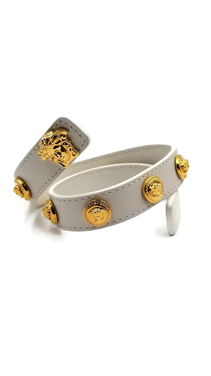 Authentic Versace Medusa Logo Double Wrap Bracelet (White)