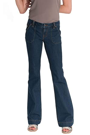 2b85efc0e9a226 Miss Me Women's Foxy Flare Mid-Rise Wide Leg Trouser Jeans (Dark Blue,