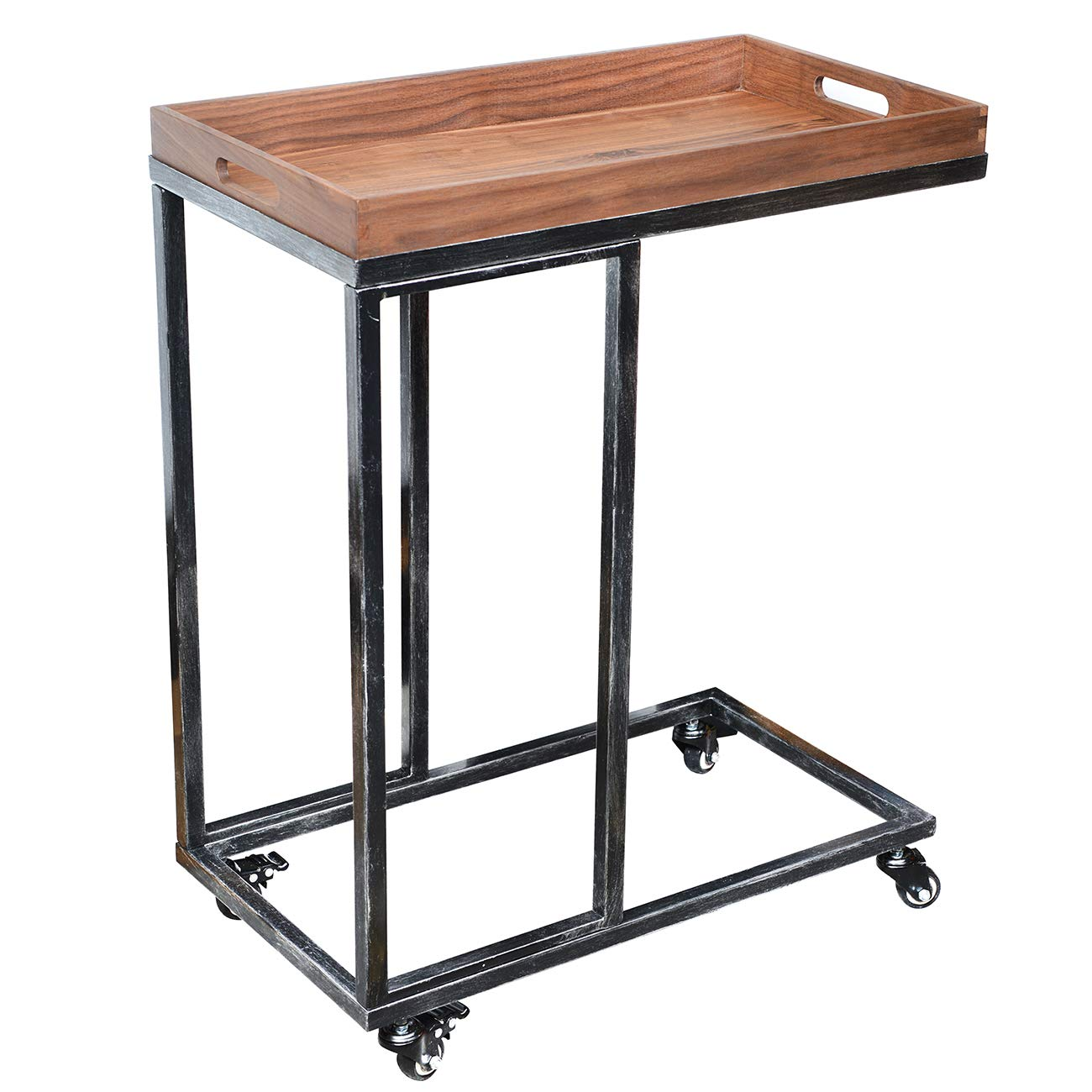 24''x13'' Extra Large Wooden Tray Ottoman Tray With Metal Support Frame Serving Cart FSC Natural Handmade Black Walnut Serving Tray Vintage Decorative Platters End Table Side Accent Table